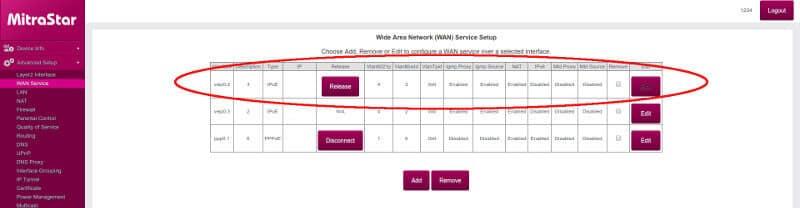 Menu Configuracion Wan Service Mitrastar