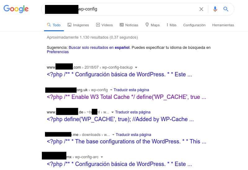 Busqueda Google Ficheros de Configuración de WordPress